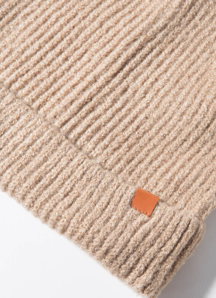 It's Cold Outside Fuzzy Rib Knit Beanie TAUPE