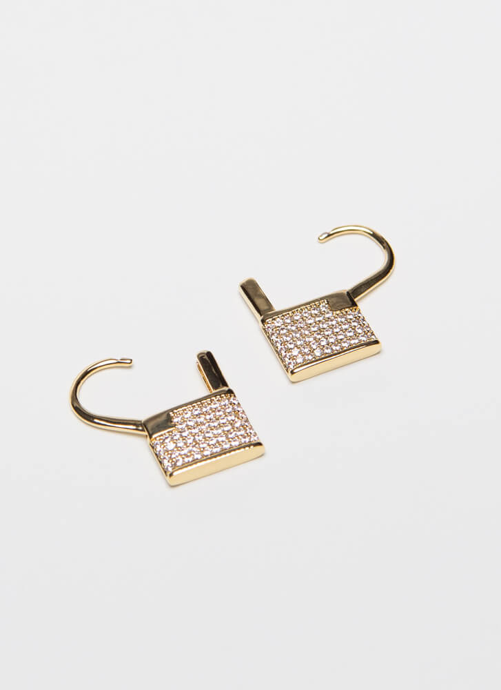 Low Key Jeweled Lock-Shaped Earrings GOLD