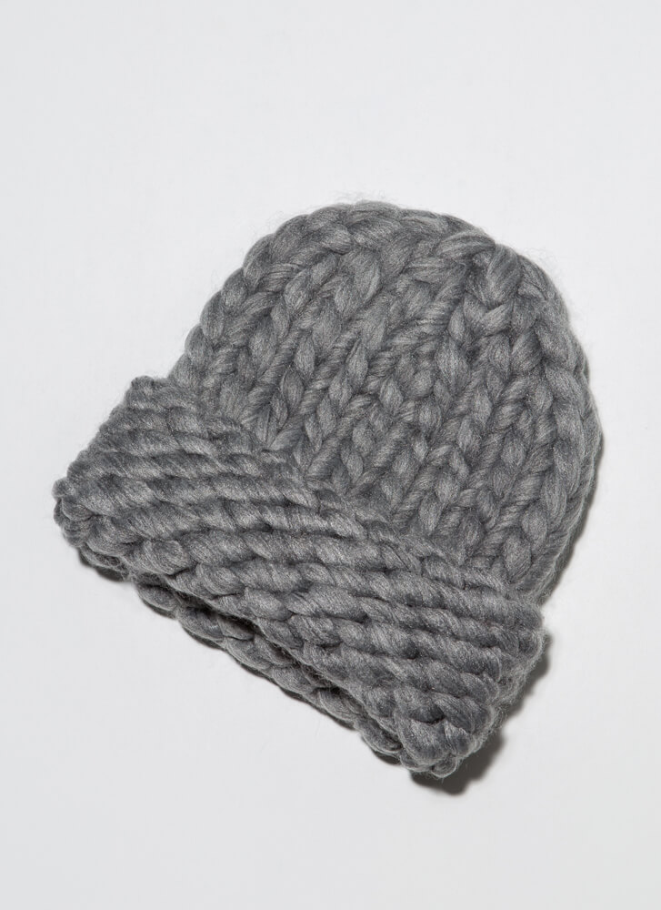 Head In The Crowds Chunky Knit Beanie GREY