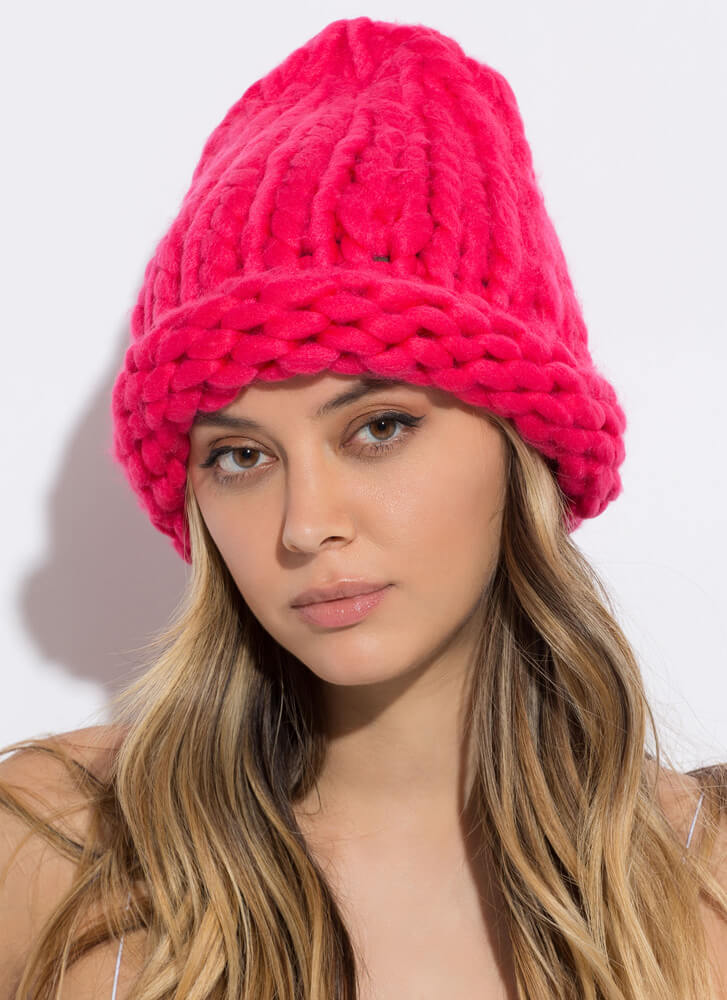 Head In The Crowds Chunky Knit Beanie PINK