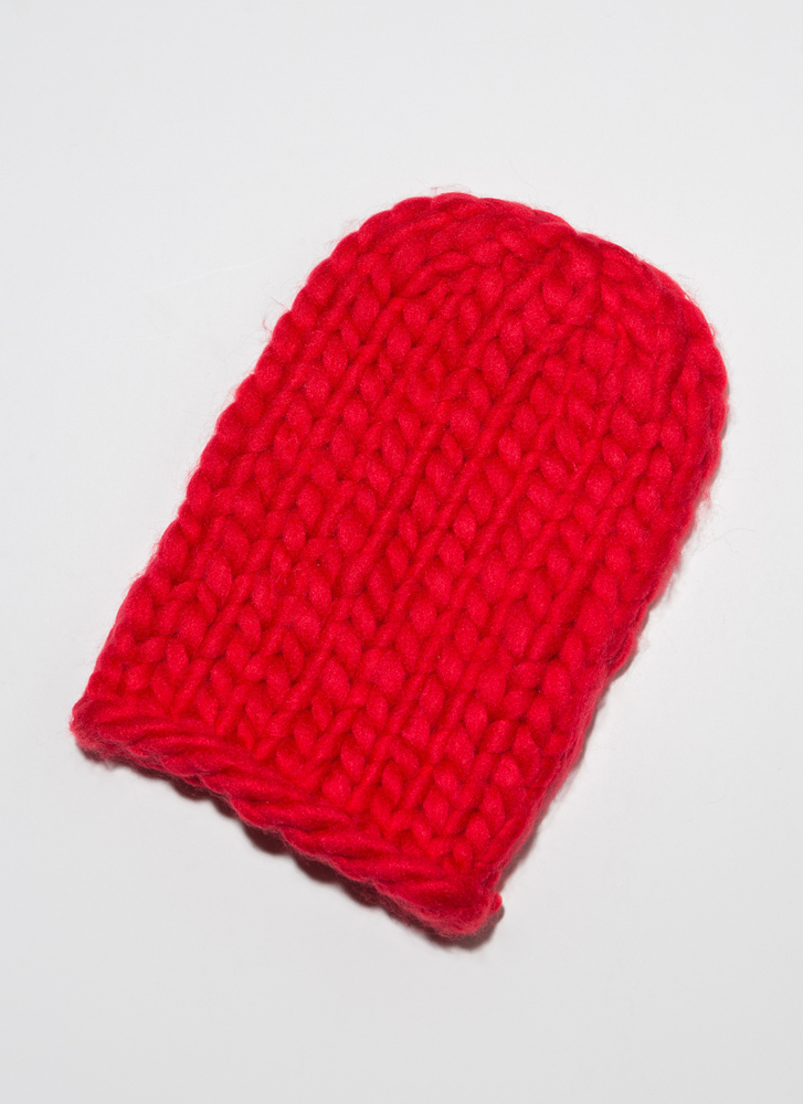 Head In The Crowds Chunky Knit Beanie RED