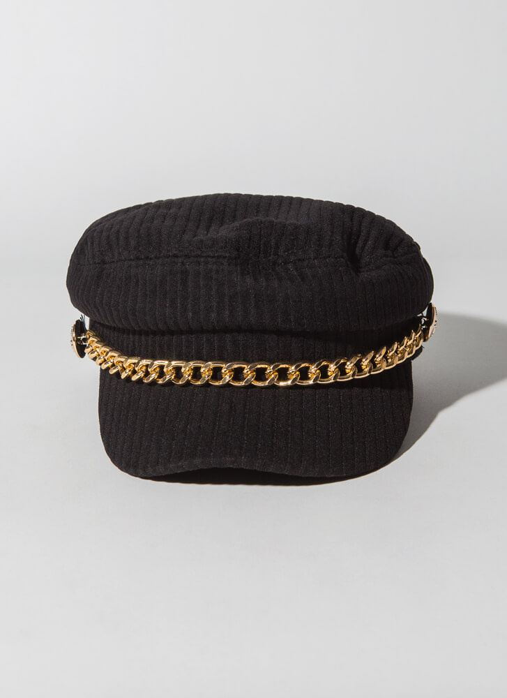 Chain-ge Of Style Corduroy Cabbie Hat BLACK
