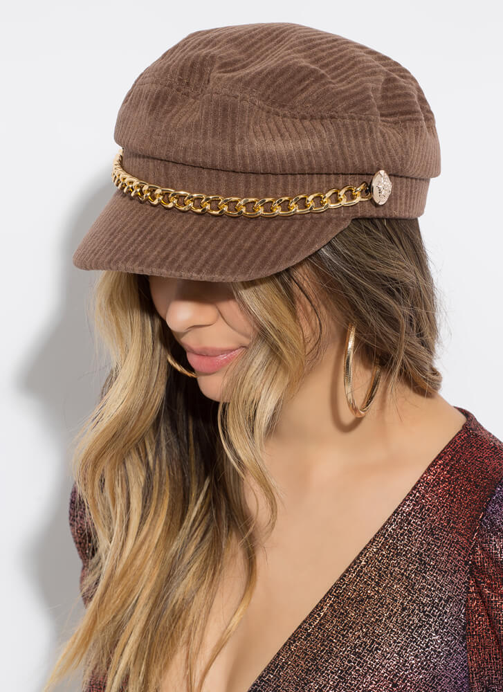 Chain-ge Of Style Corduroy Cabbie Hat BROWN
