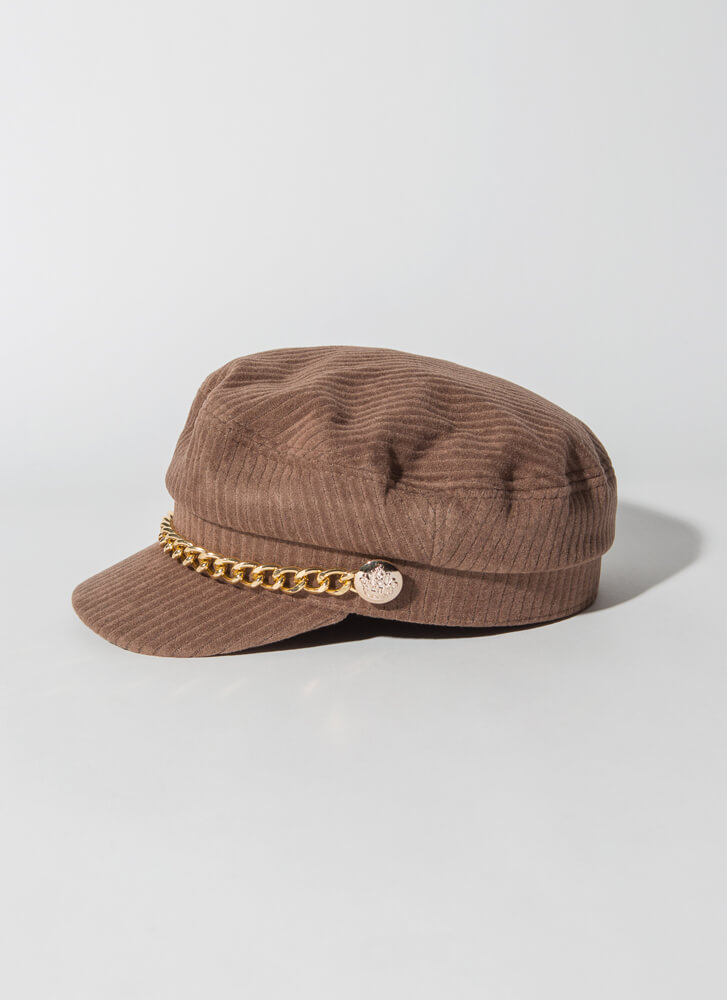 Chain-ge Of Style Corduroy Cabbie Hat CAMEL