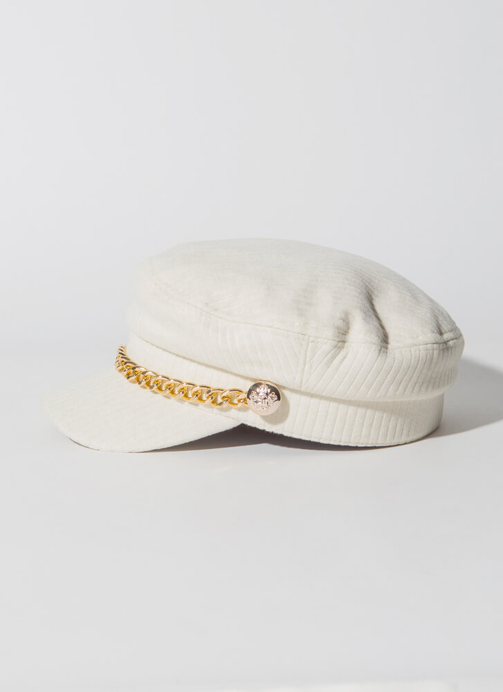 Chain-ge Of Style Corduroy Cabbie Hat IVORY