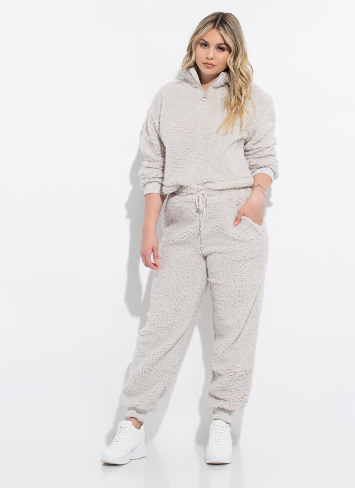 Soft Landing Fleecy 2-Piece Jogger Set GREY
