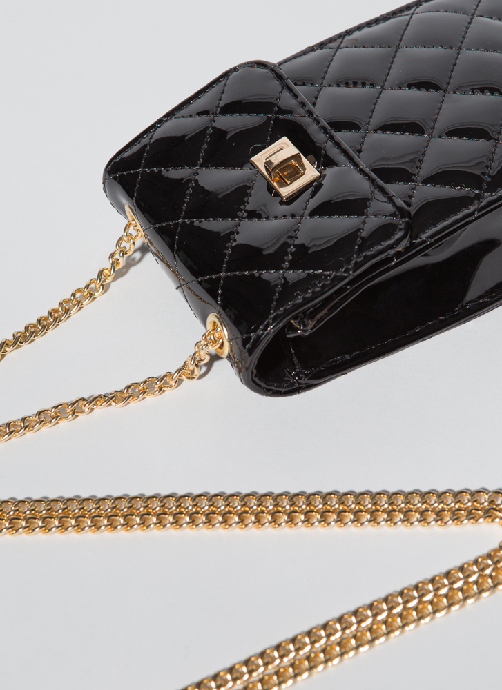 Glossin' Quilted Faux Patent Purse BLACK