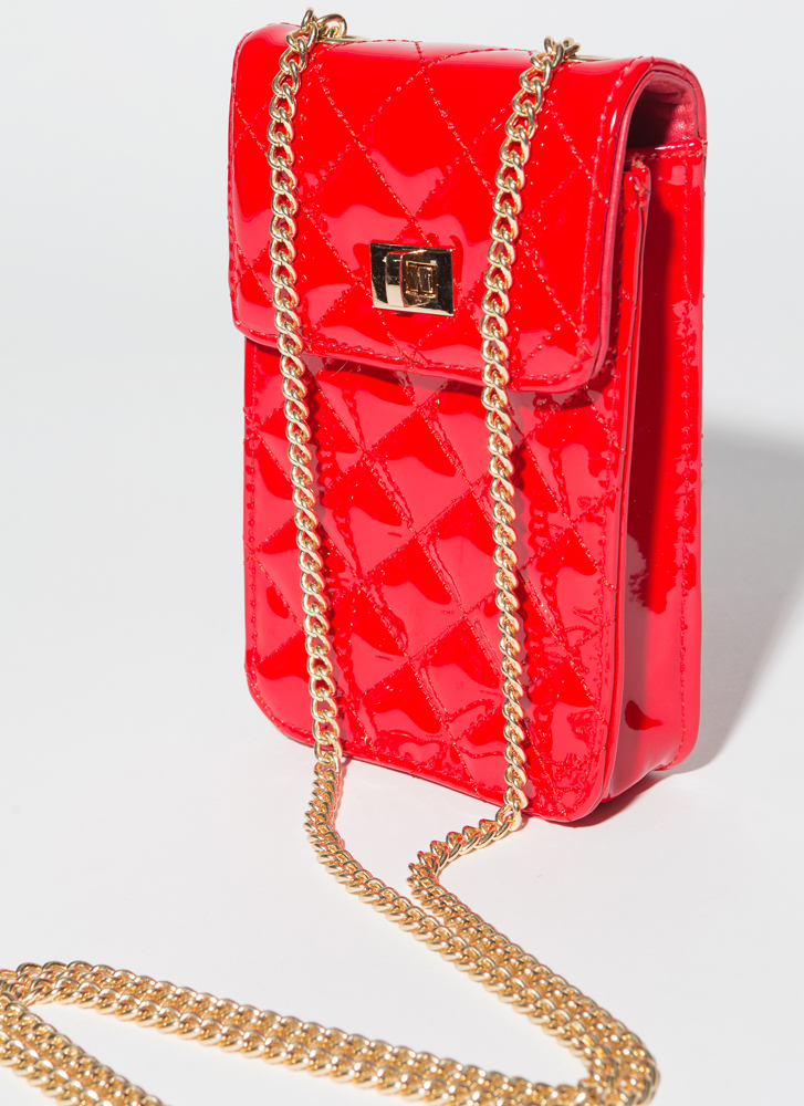 Glossin' Quilted Faux Patent Purse RED