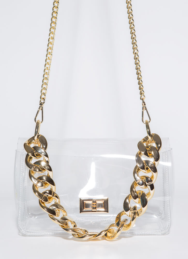 Nothing To Hide Clear Chain Strap Purse CLEARGOLD