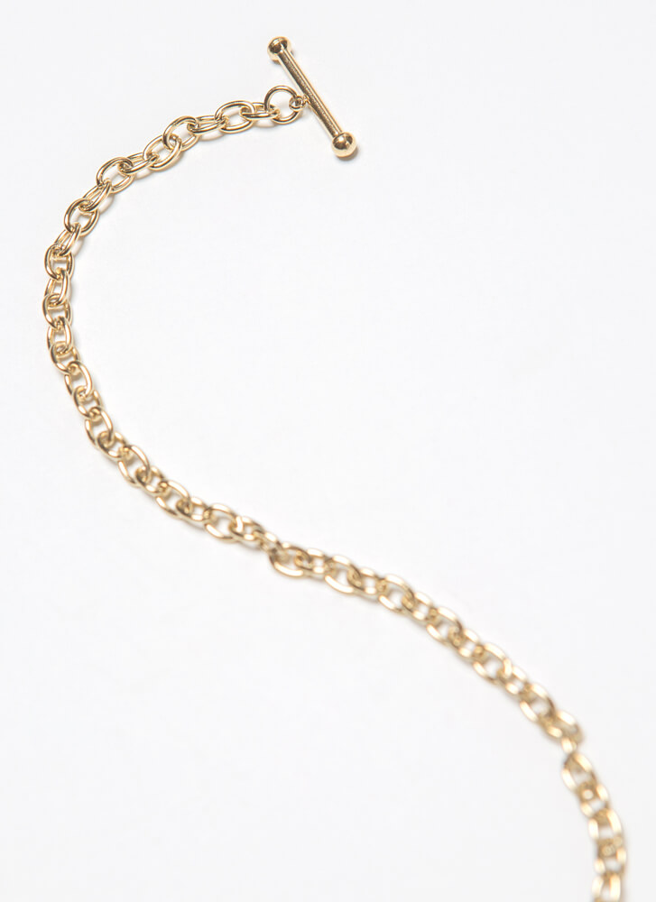 Love Forever Heart Charm Chain Necklace GOLD