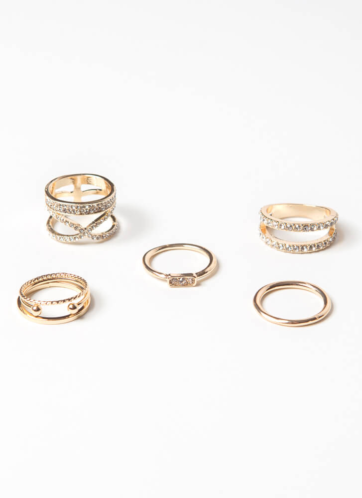 Super Stack It Jeweled 5-Ring Set GOLD