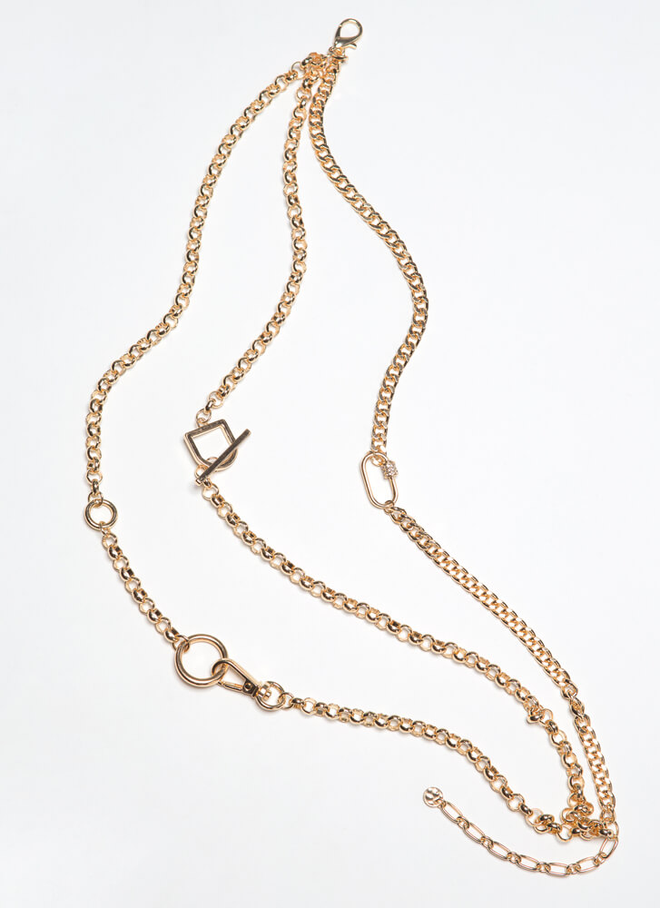 Trinkets Triple Chain Charm Necklace GOLD
