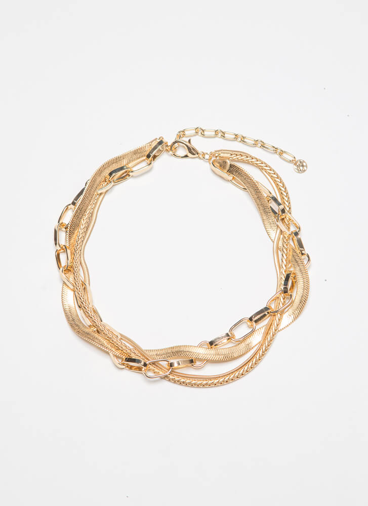 One For All Bundled Chain Choker GOLD