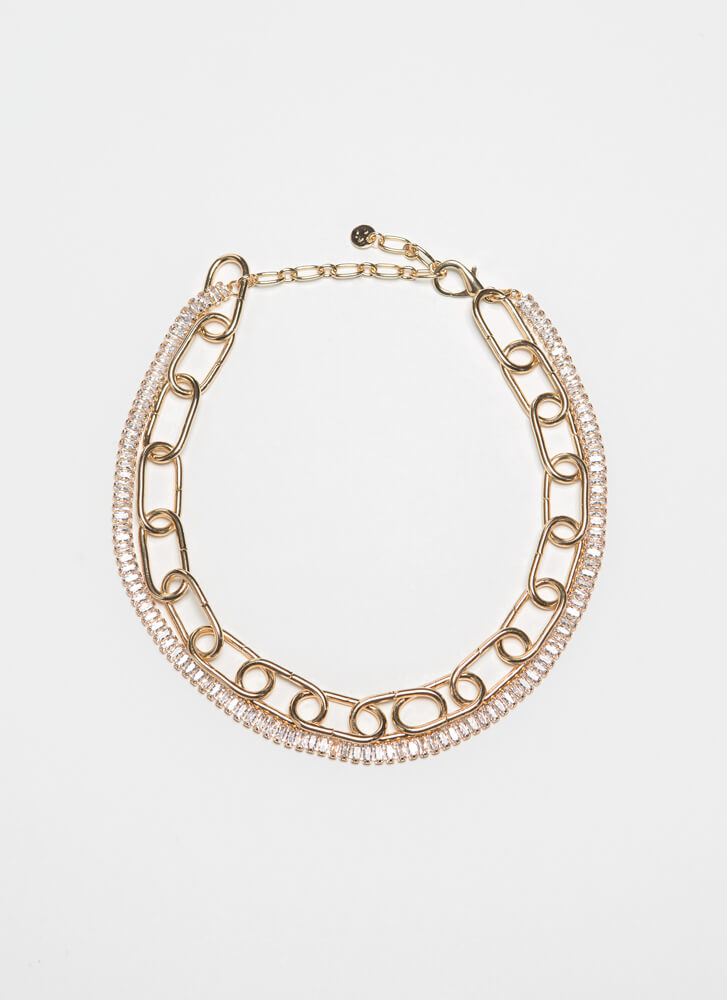 In the Loop Faux Crystal Chain Choker GOLD