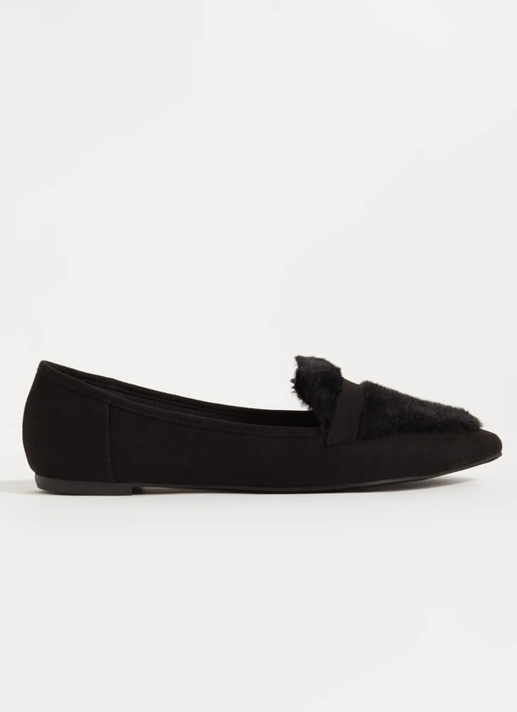 It's Fur The Better Fuzzy Loafer Flats BLACK