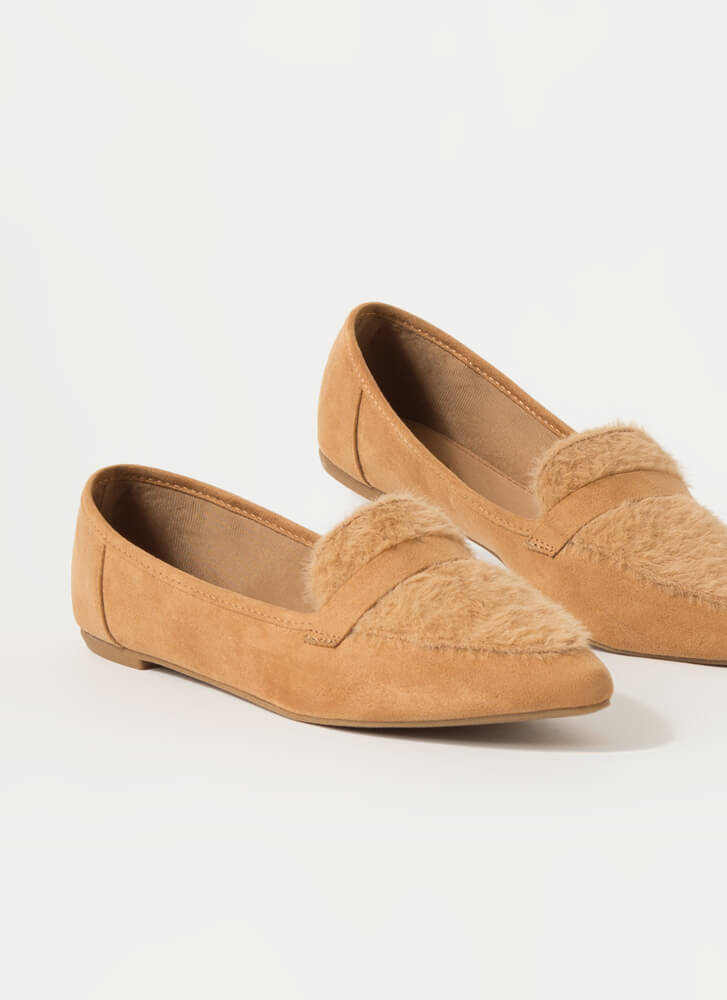 It's Fur The Better Fuzzy Loafer Flats TAN