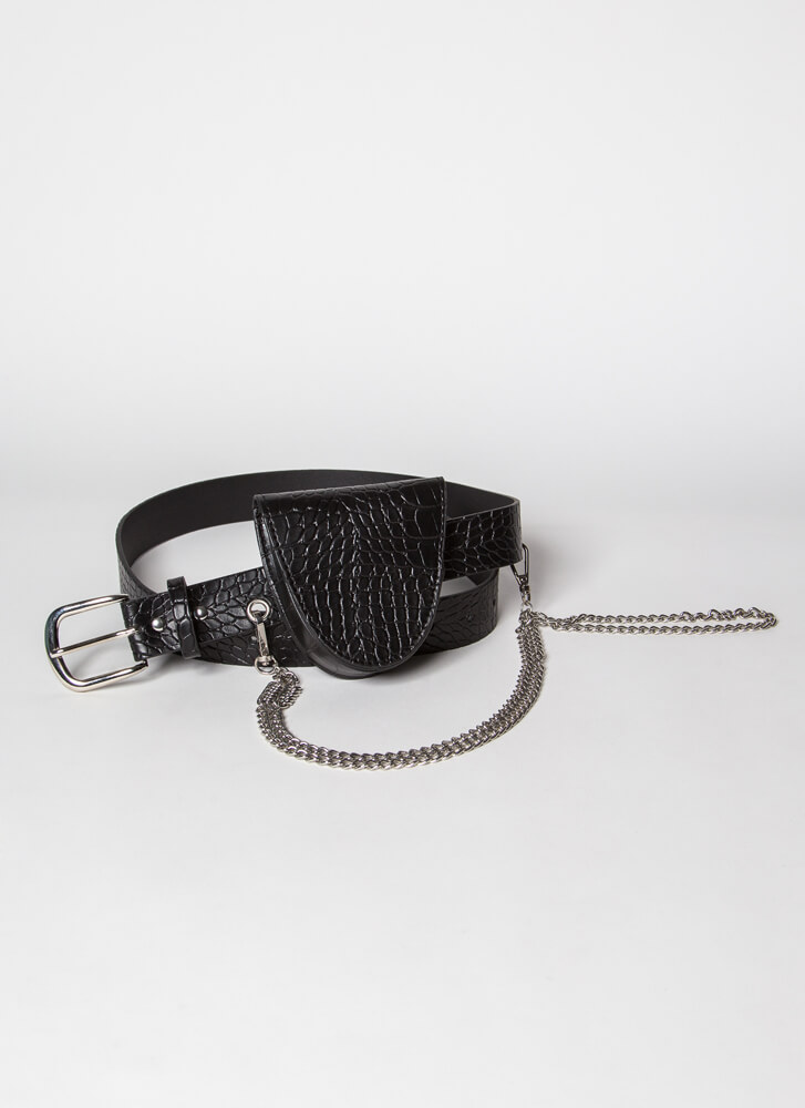 Reptilian Chained Belt And Pouch Set BLACKSILVER