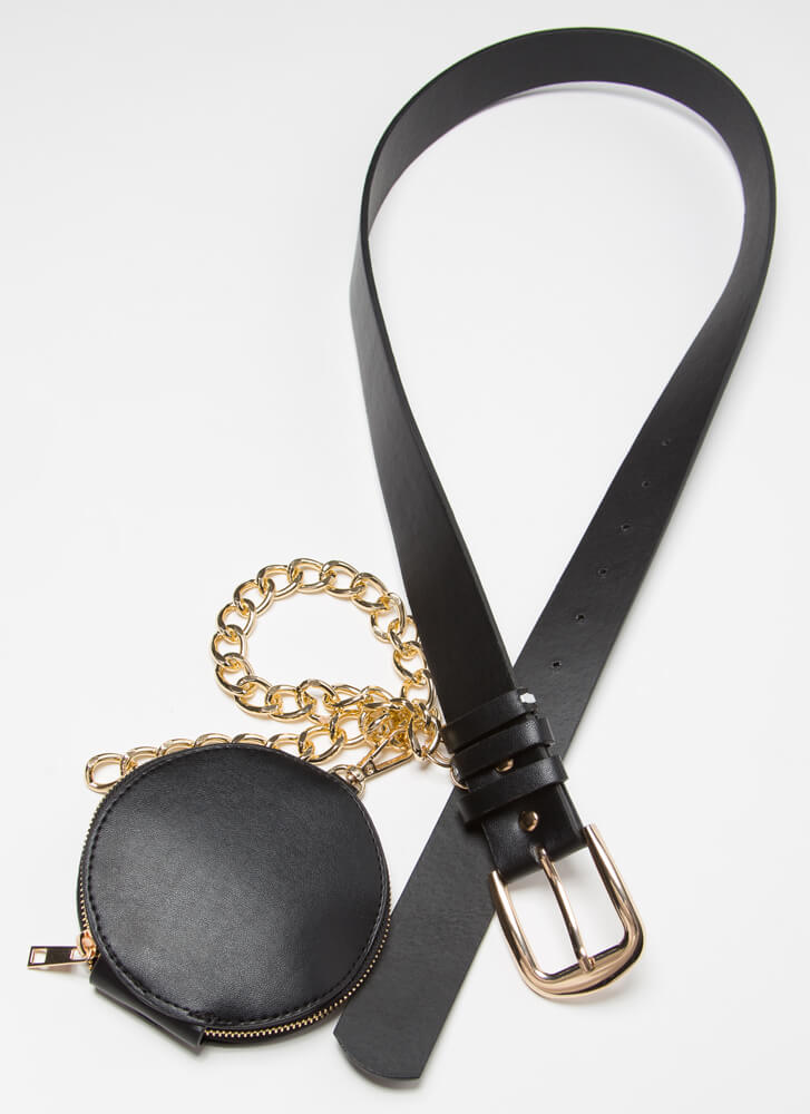 Miss Moto Chained Belt And Pouch Set BLACKGOLD