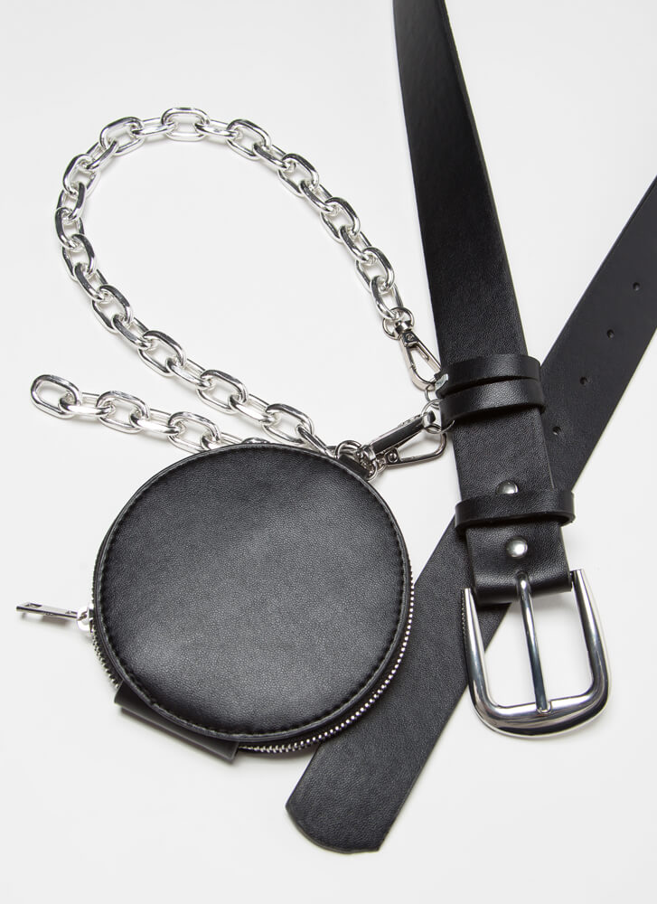 Miss Moto Chained Belt And Pouch Set BLACKSILVER