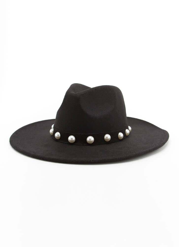 Ranch Girl Chic Faux Pearl Straw Hat BLACK