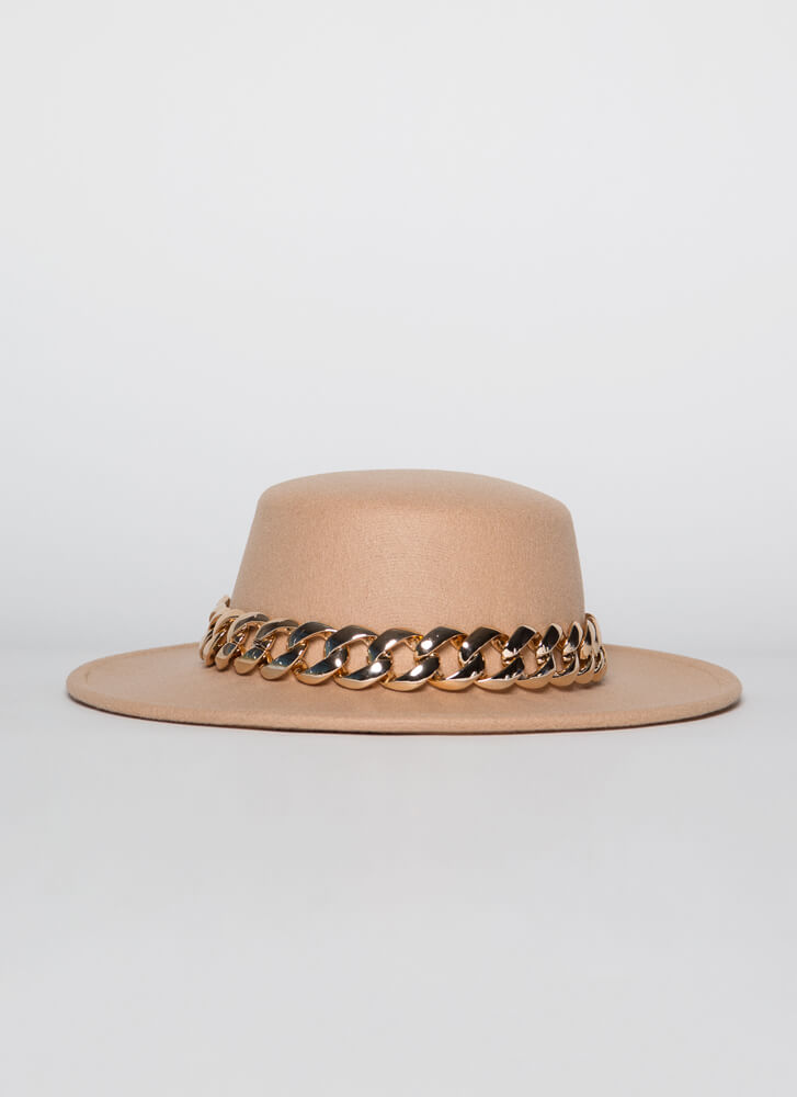 Chain-ge Is Coming Felted Boater Hat BEIGE