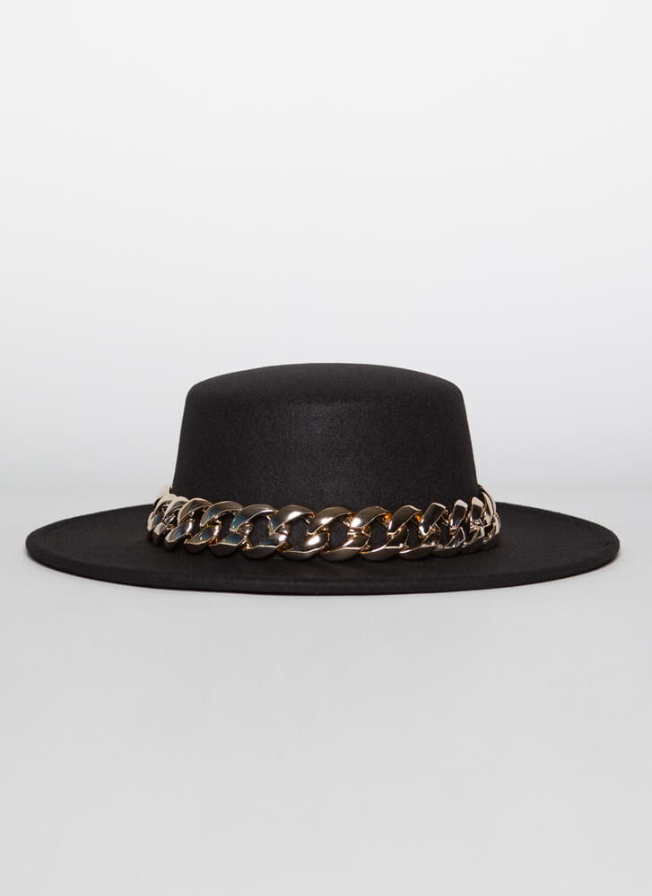 Chain-ge Is Coming Felted Boater Hat BLACK