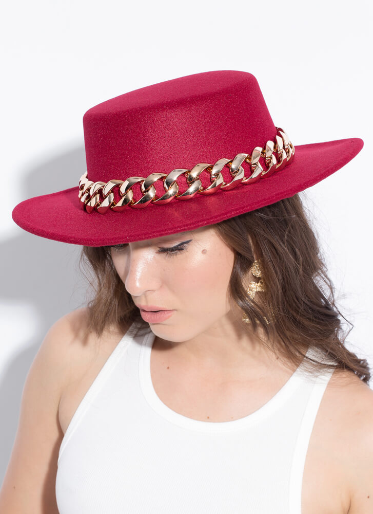 Chain-ge Is Coming Felted Boater Hat BURGUNDY