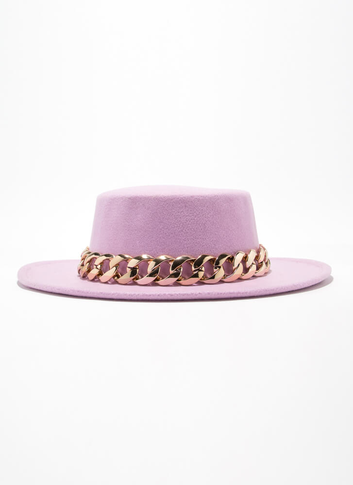 Chain-ge Is Coming Felted Boater Hat LAVENDER