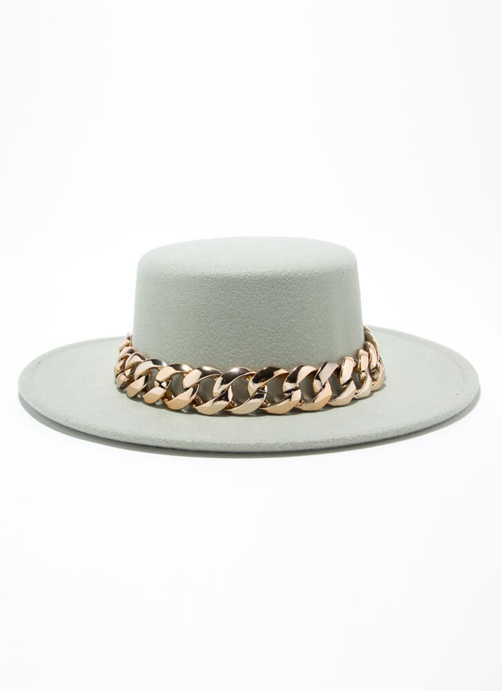 Chain-ge Is Coming Felted Boater Hat MINT