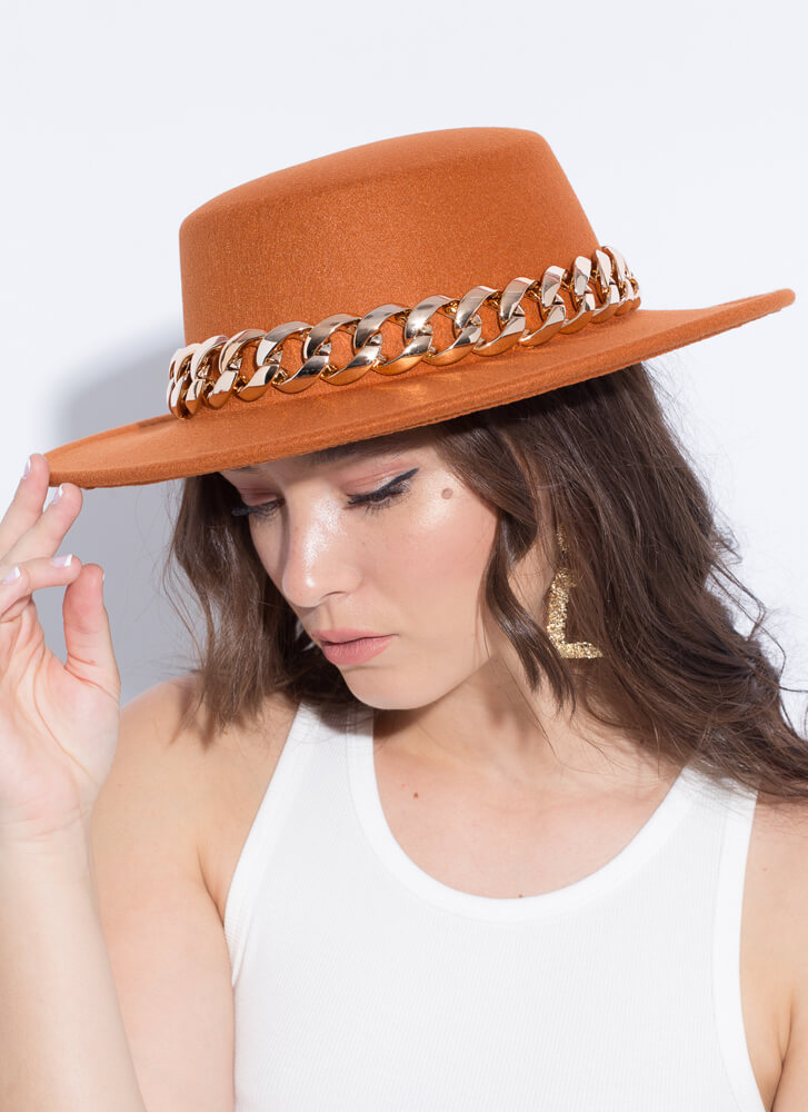 Chain-ge Is Coming Felted Boater Hat RUST