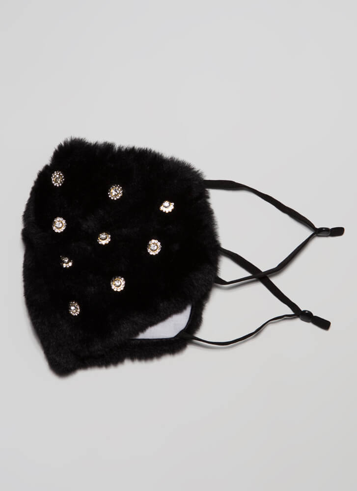 Jewel Thief Pocketed Faux Fur Face Mask BLACK