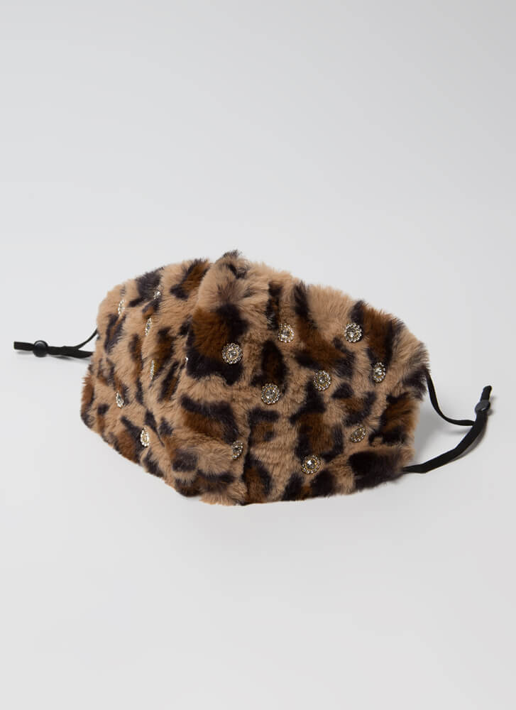 Jewel Thief Pocketed Faux Fur Face Mask LEOPARD