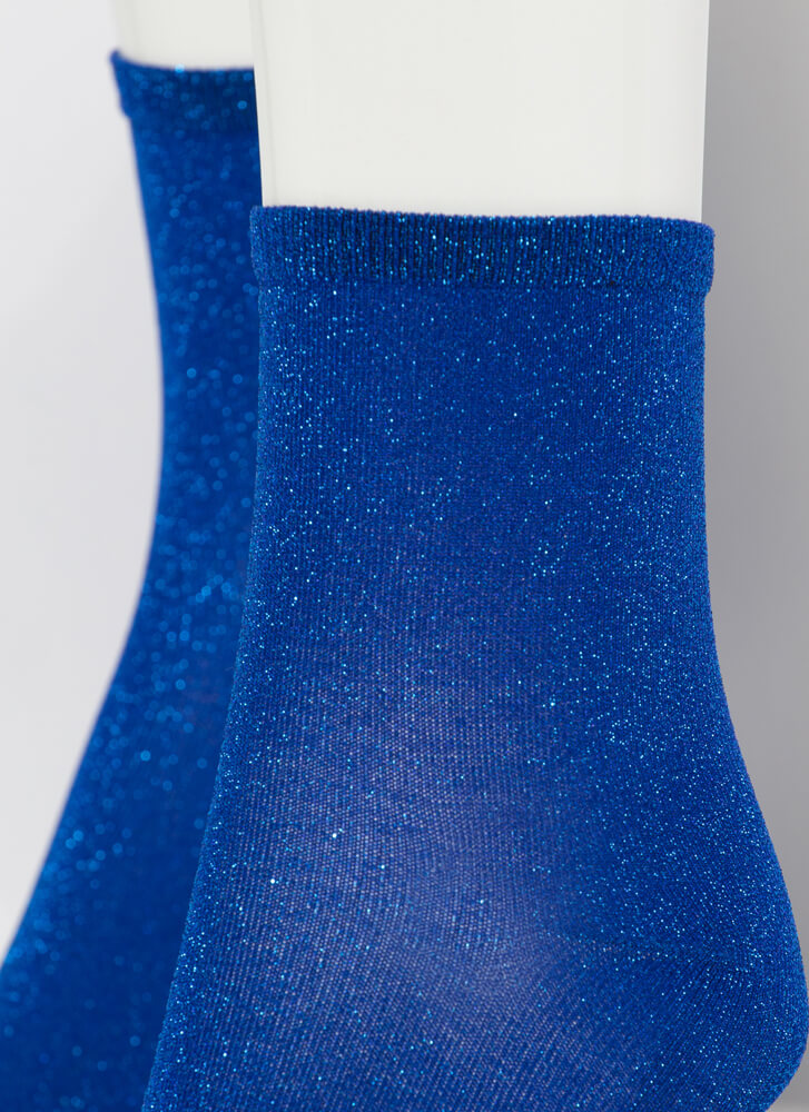 Twinkle Toes Sparkly Micro Crew Socks BLUE
