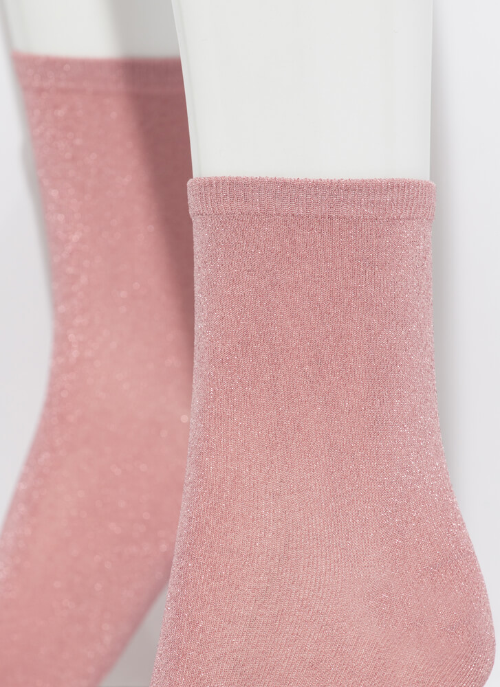 Twinkle Toes Sparkly Micro Crew Socks PINK