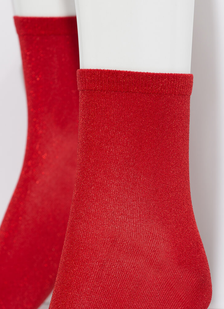 Twinkle Toes Sparkly Micro Crew Socks RED