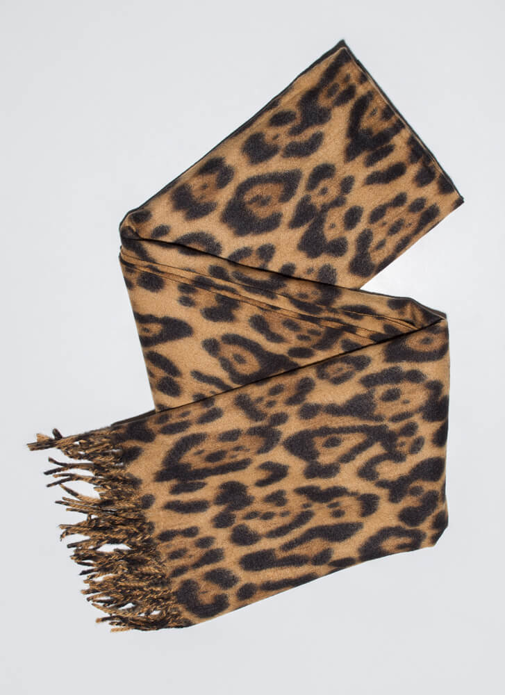 Warm And Wild Leopard Fringed Scarf LEOPARD