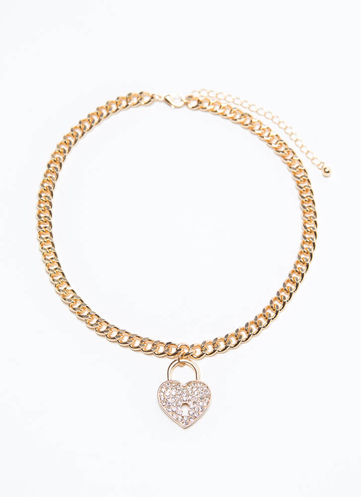 Locked In My Heart Jeweled Charm Choker GOLD