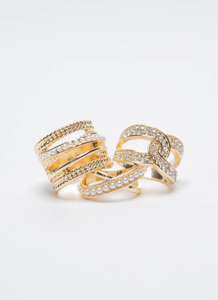 Pearls And Diamonds Cut-Out Ring Trio GOLD