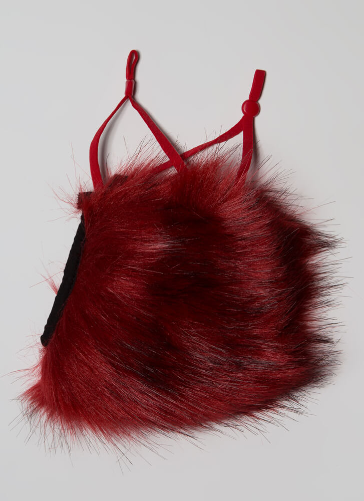 Get Shaggy With It Faux Fur Face Mask RED