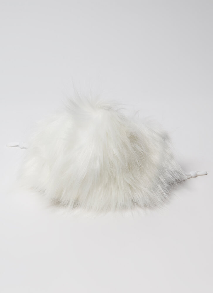 Get Shaggy With It Faux Fur Face Mask WHITE
