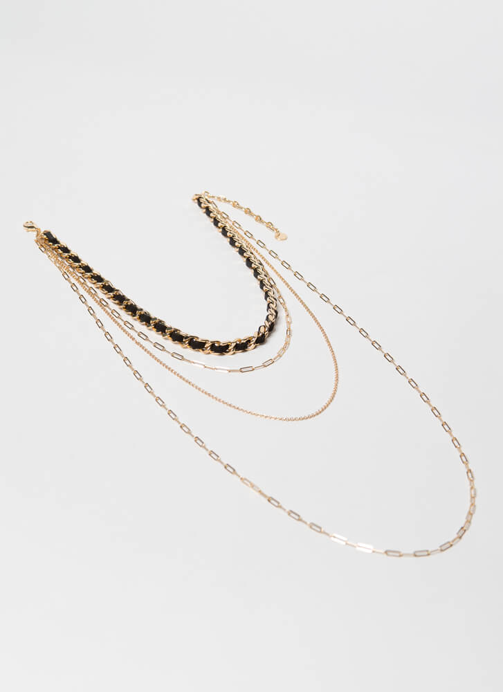 Long Live The Layered Chain Necklace GOLDBLACK