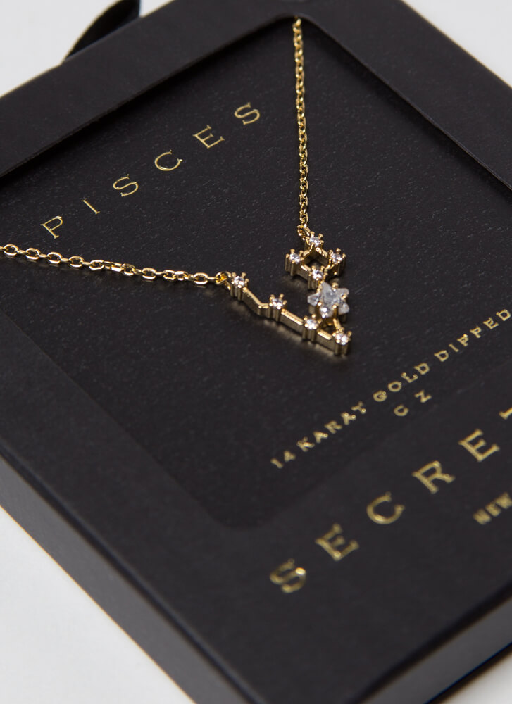 Pisces Constellation Charm Necklace GOLD
