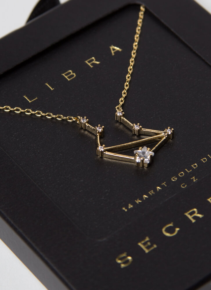 Libra Constellation Charm Necklace GOLD