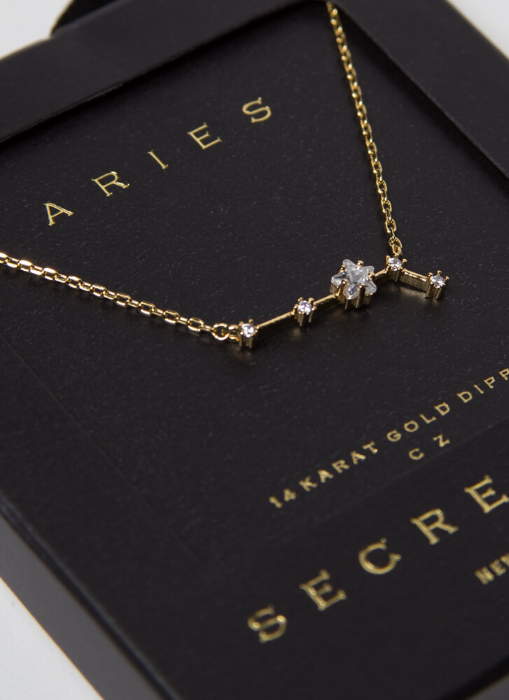Aries Constellation Charm Necklace GOLD