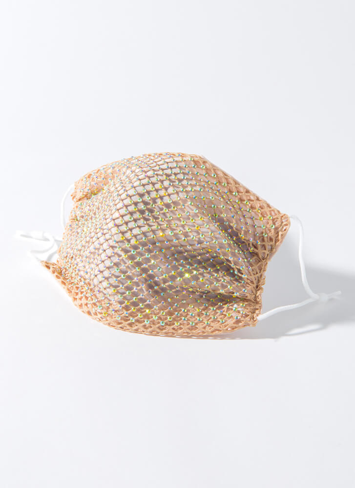 Party Of One Netted Jeweled Face Mask BEIGE