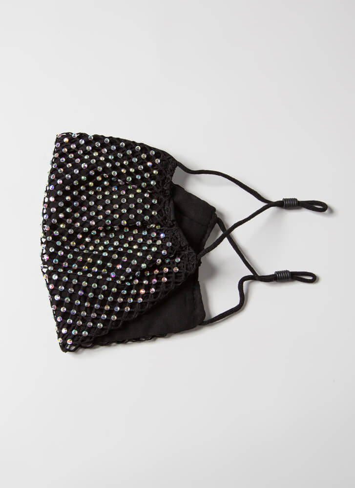Party Of One Netted Jeweled Face Mask BLACK