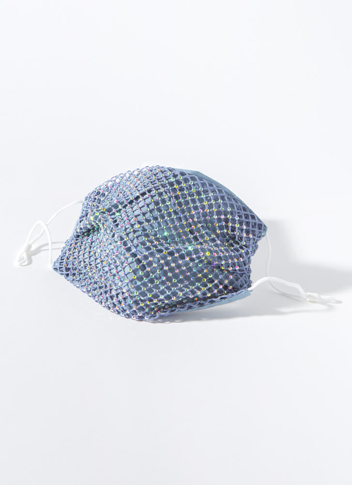 Party Of One Netted Jeweled Face Mask DENIM