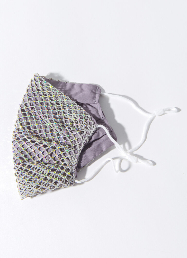 Party Of One Netted Jeweled Face Mask GREY
