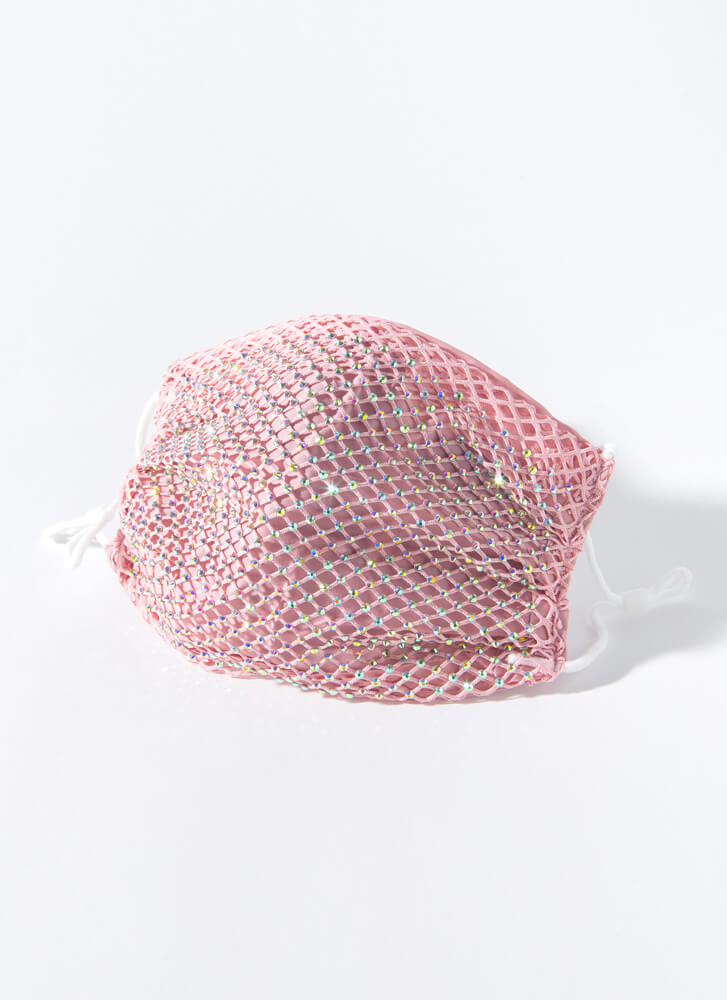 Party Of One Netted Jeweled Face Mask PINK