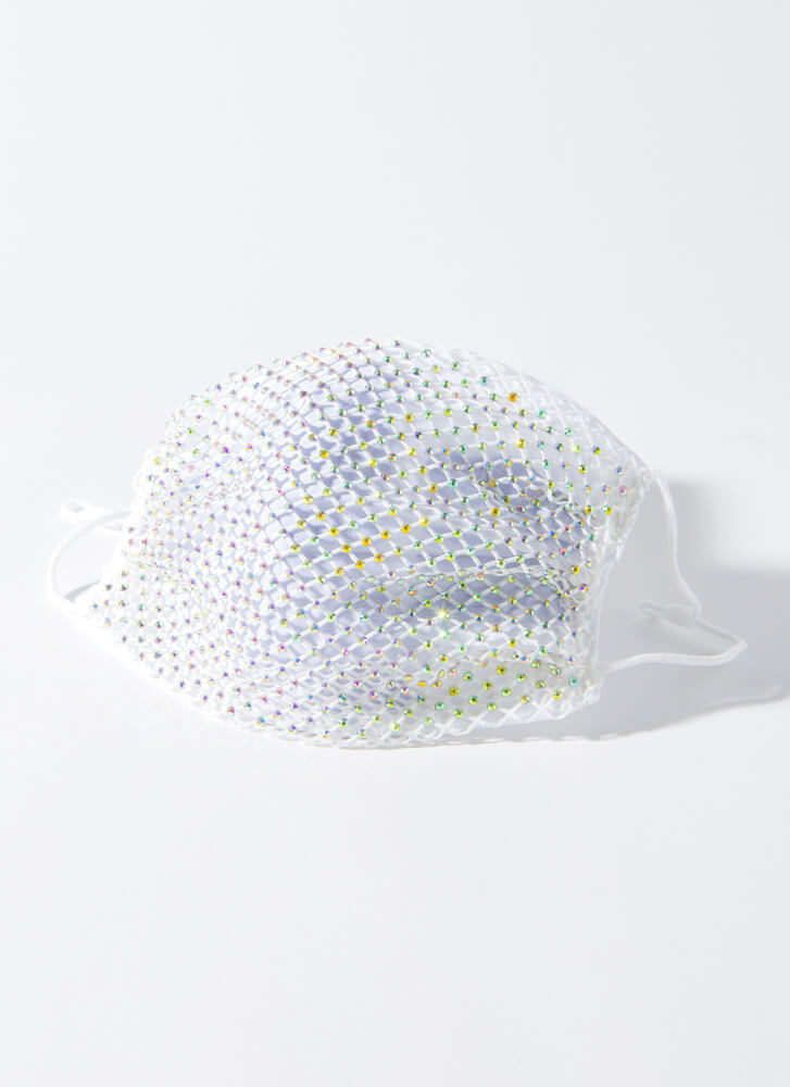 Party Of One Netted Jeweled Face Mask WHITE